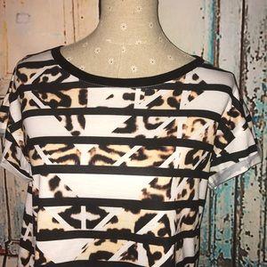 MINKPINK~Striped Leopard/Animal Print Tee Top~M
